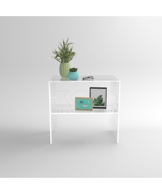Transparent acrylic console table 60 cm with storage shelf