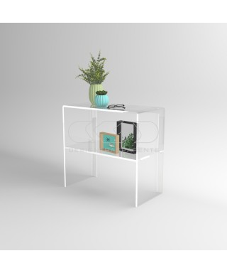 Transparent acrylic console table 70 cm with storage shelf