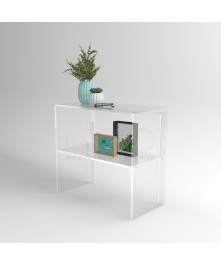 Transparent acrylic console table 80 cm with storage shelf