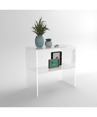 Transparent acrylic console table 90 cm with storage shelf