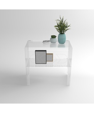 Transparent acrylic console table 100 cm with storage shelf