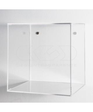 Estantería cubo cm 20 en metacrilato transparente expositor de pared