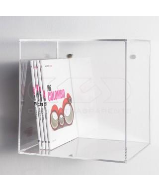 Estantería cubo cm 30 en metacrilato transparente expositor de pared