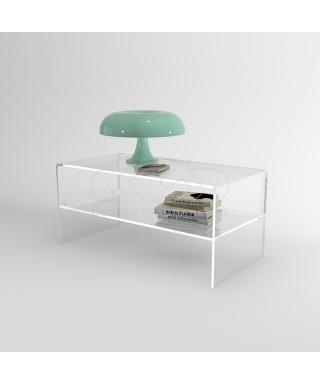 Tavolino da salotto 70x40H50 in plexiglass trasparente con ripiano