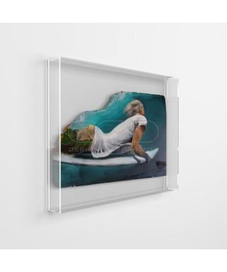Lienzos y pinturas cm 30x35 caja de protección marco de metacrilato