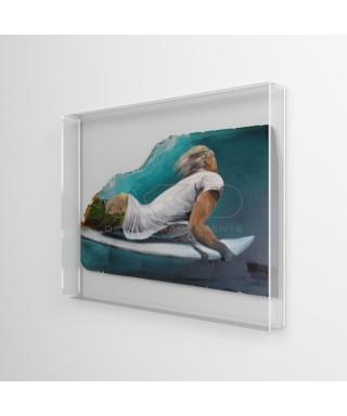 Lienzos y pinturas cm 30x40 caja de protección marco de metacrilato