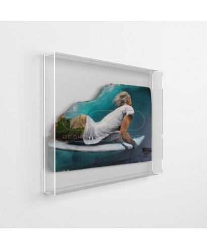 Lienzos y pinturas cm 30x30 caja de protección marco de metacrilato