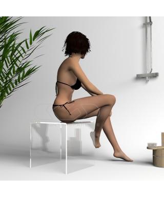 Taburete de ducha cm 40x40 en metacrilato transparente para baño