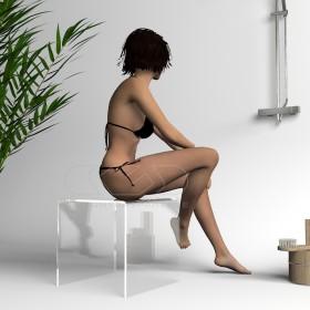 Sgabello cm 40x40 in plexiglass trasparente anche per doccia e bagno