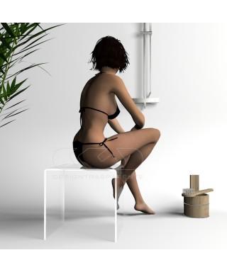 Taburete de ducha cm 30x30 en metacrilato transparente para baño