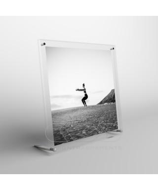 Cornice portafoto da tavolo cm 10 in plexiglass sostegni in metallo