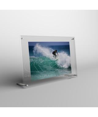 Cornice portafoto da tavolo cm 15 in plexiglass sostegni in metallo