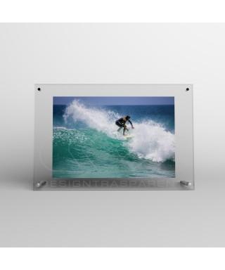 Cornice portafoto da tavolo cm 20 in plexiglass sostegni in metallo