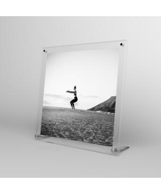 Cornice portafoto da tavolo cm 25 in plexiglass sostegni in metallo