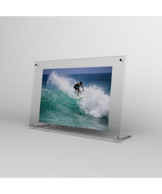 Cornice portafoto da tavolo cm 30 in plexiglass sostegni in metallo