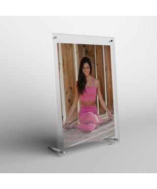 Cornice portafoto da tavolo cm 35 in plexiglass sostegni in metallo