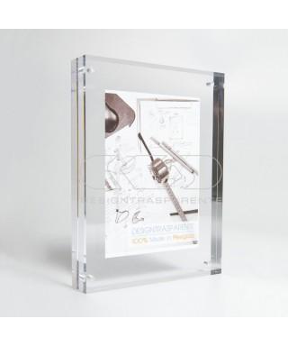 Cornice cm 10 portafoto da tavolo in plexiglass trasparente a magnete
