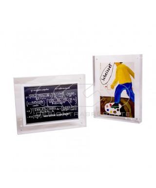 Cornice cm 20 portafoto da tavolo in plexiglass trasparente a magnete