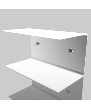 OFFERTA Comodino sospeso cm 20x15H20 mensola doppia in plexiglass modello a C
