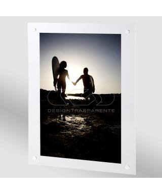 OFFERTA Cornice a giorno 70x100 cm in plexiglass con viti trasparenti