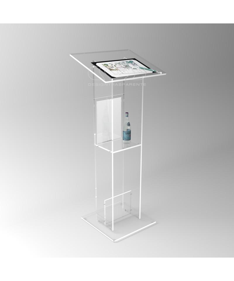 Leggio 50x40H110-120 da terra in plexiglass trasparente, smontabile