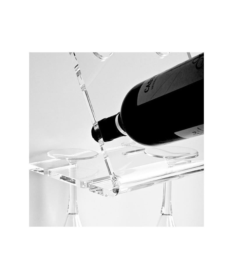 Portabottiglie e calici da parete Equilibrio in plexiglass trasparente