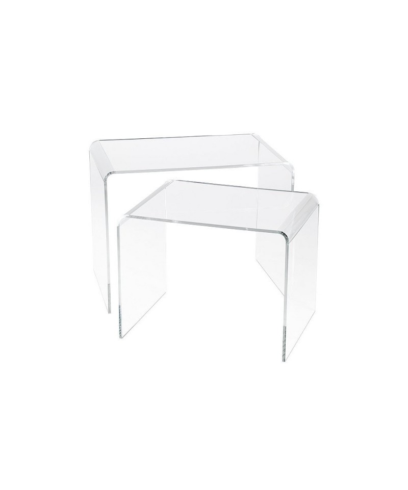 Tavolini Da Salotto Impilabili.Set Tavoli 90x40h40 E 85x40h37 Impilabili In Plexiglass Trasparente Alto Spessore