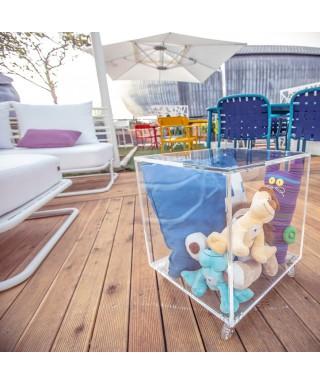 Cubo contenitore cm 40x40h47 in plexiglass trasparente con ruote