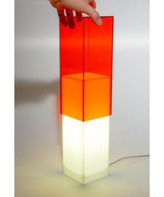 Acrylic orange desk lamp or colored nightstand