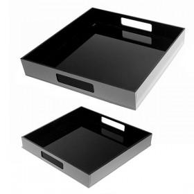 Set di vassoi quadrati in plexiglass neri