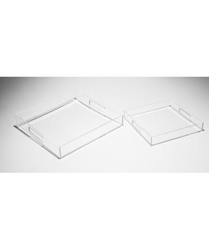 Set di vassoi quadrati in plexiglass trasparente