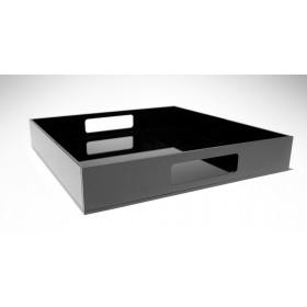 Vassoio quadrato in plexiglass nero moderno ed elegante