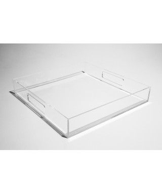 Vassoio quadrato in plexiglass trasparente