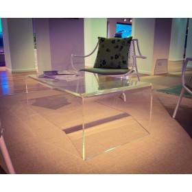 Mesa auxiliar cm 100x30 mesita baja de centro metacrilato transparente