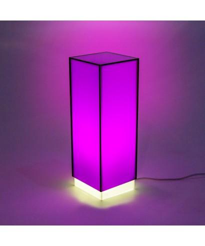 Condom viola lampada da tavolo e comodino in plexiglass colorato