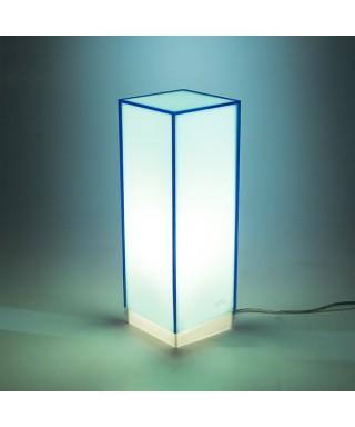 Condom azzurra lampada da tavolo e comodino in plexiglass colorato