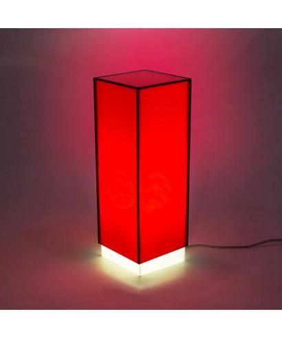 Condom rossa lampada da tavolo e comodino in plexiglass colorato