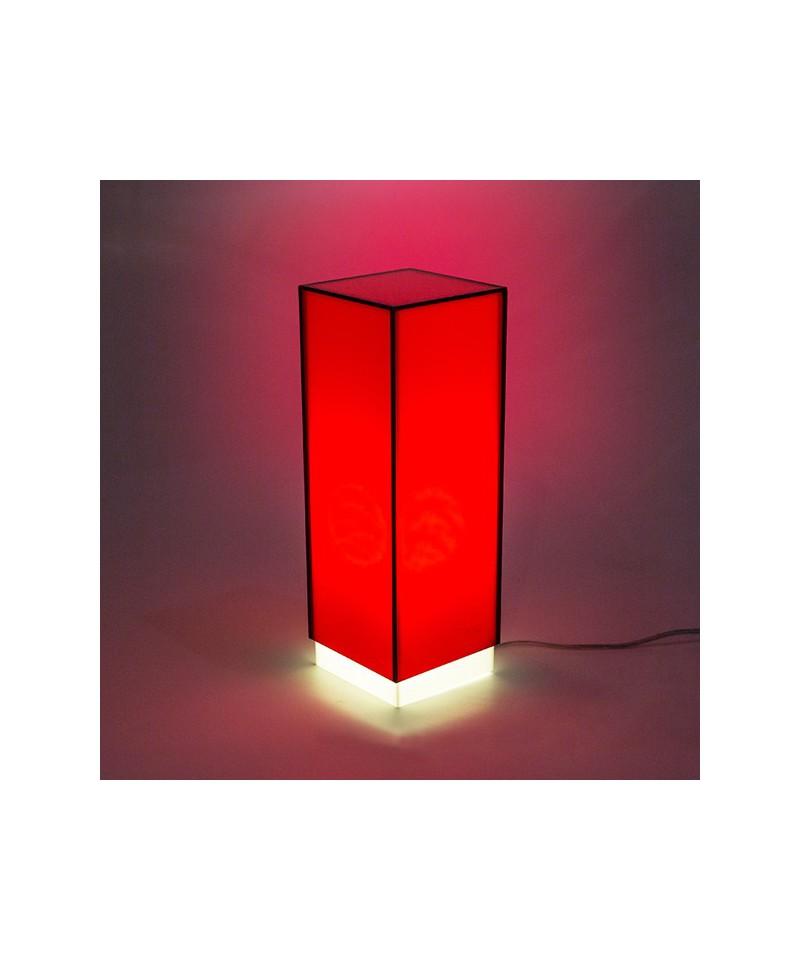 Lampara de escritorio roja o mesita de noche de metacrilato coloreado