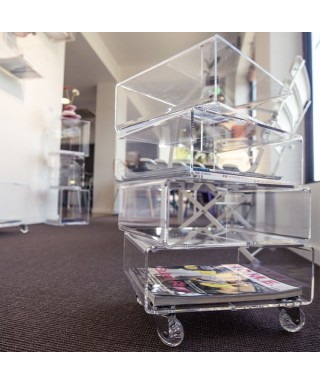 Acrylic side table with magazine rack - Trottola
