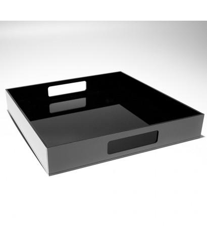 Vassoio quadrato in plexiglass nero