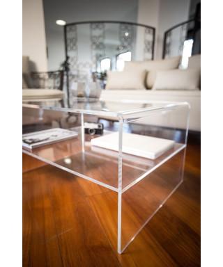 Porta TV 70x40h40 con ripiano in plexiglass trasparente