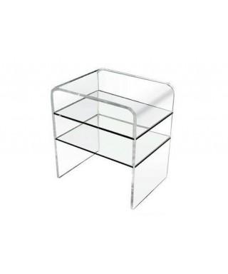 Tavolo 60x45h75 con due ripiani in plexiglass trasparente per soggiorno