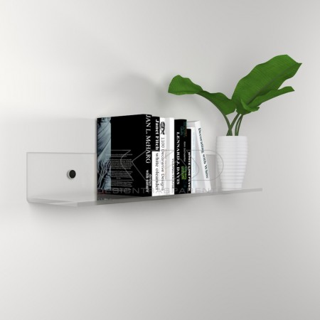 High thickness transparent acrylic shelf for books and heavy objects.