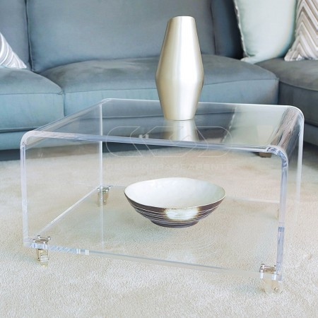Perspex side table with magazine rack