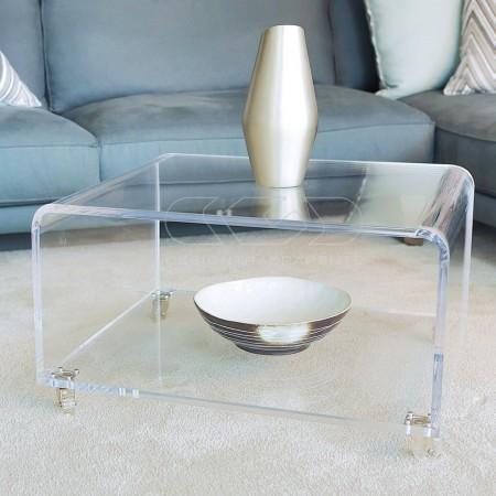 Tavolino con portariviste itrasparente in plexiglass