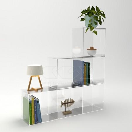 Cubi in plexiglass trasparente, espositori e contenitori per negozi