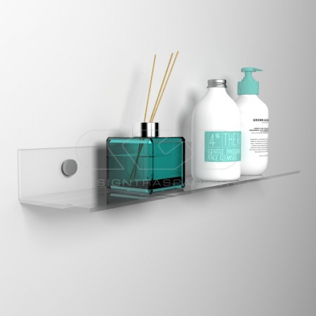 Trasparent or colored wall shelf for bathroom or kitchen.