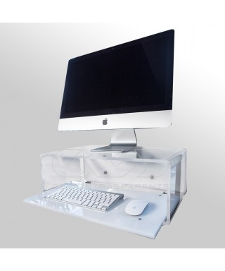 Wall-mount acrylic suspended desk