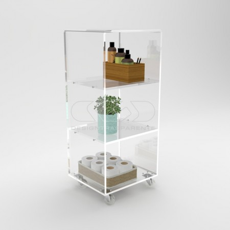 Cabinets and servant trolleys in clear transparent plexiglass