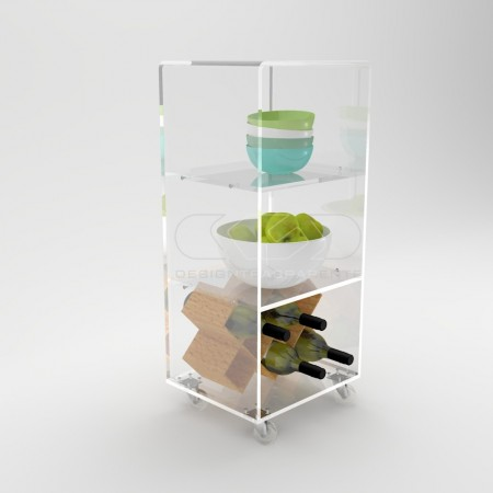 Transparent acrylic trolley cart for space saving